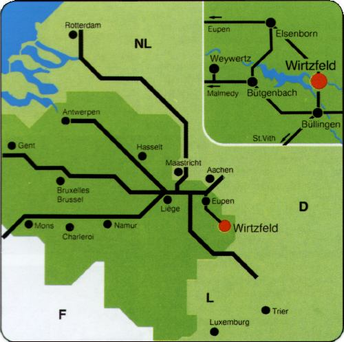 Landkaart / Road map of Wirtzfeld, Belgium