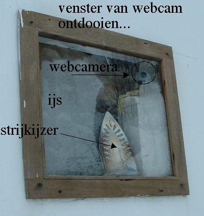 Strijkijzer ontdooit ijs op venster voor webcam