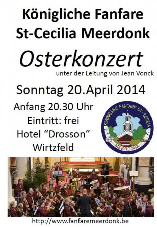 Concert op 20 April 2014 om 20.30 uur in zaal Drosson: inkom gratis!