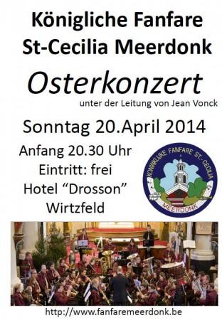 Concert op 20 April 2014 om 20.30 uur in zaal Drosson: inkom gratis!